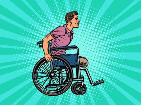 legless man disabled veteran in a wheelchair