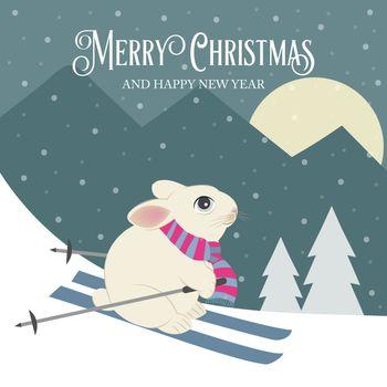 Beautiful retro Christmas card with rabbit skier. Flat design. Vector