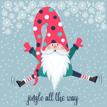 Cute gnome jump. Christmas card. Flat design.