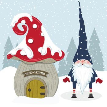 Cute Christmas gnome and her mushroom house. Flat design.