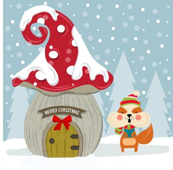 Christmas card with cute squirrel and fairy house. Flat design. Vector