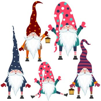 Beautiful flat design gnomes collection. Isolated items. Vector