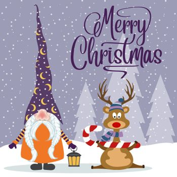 Flat design Christmas card with happy gnome and reindeer. Christmas poster. Vector