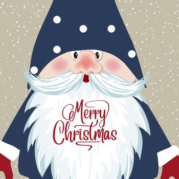 Christmas Card with gnome face. Retro style Christmas poster. Vector