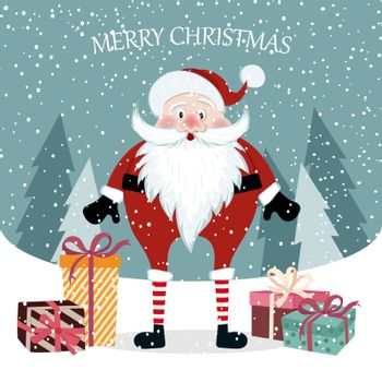 Beautiful flat design Christmas card with Santa. Christmas poster. Vector