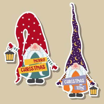 Christmas stickers collection with cute gnomes. Flat design