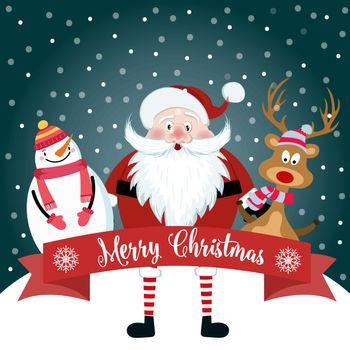 Christmas card with cute Santa, snowman and reindeer. Flat design. Vector