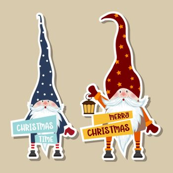 Christmas stickers collection with cute gnomes and wishes. Flat design