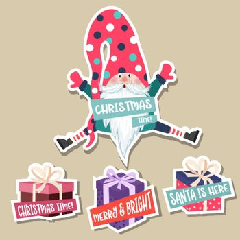 Christmas stickers collection with cute gnome and gift boxes. Flat design