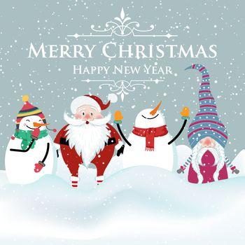 Joyful flat design Christmas card with snowman , Santa and gnome. Christmas poster. Print. Vector