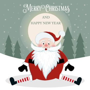Funny Christmas card with Santa. Flat design. Vector