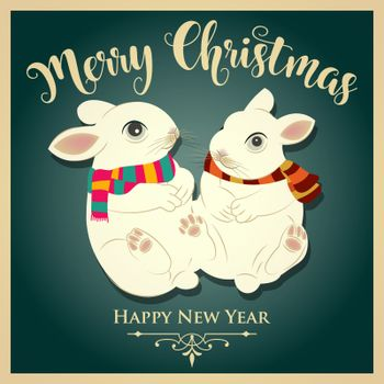 Vintage  Christmas card with rabbits and message. Christmas poster. Print. Vector