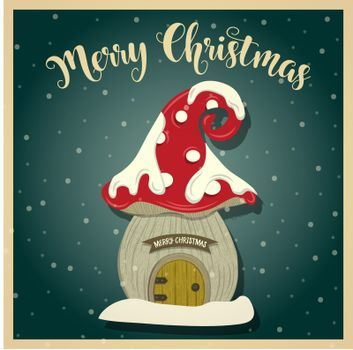 Vintage Christmas card with gnome house. Christmas poster. Prin