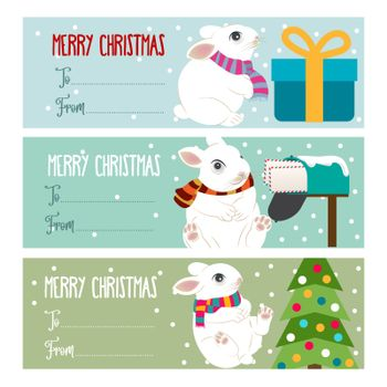 Cute flat design Christmas labels collection  for presets with rabbits. Vector