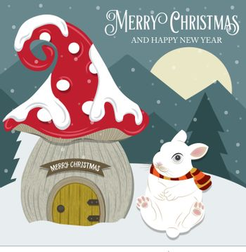 Beautiful Christmas card with gome house and rabbit. Flat design