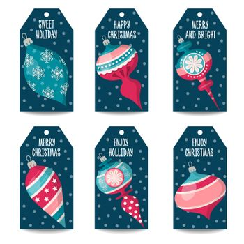 Christmas labels collection with Christmas balls, isolated items on white background. Vector
