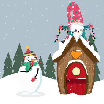 Funny Christmas card with gome and snowman