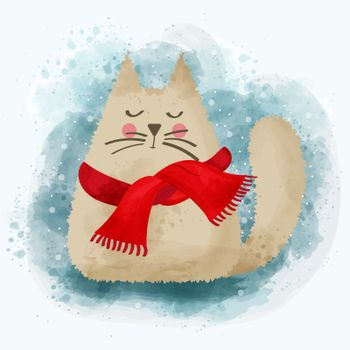 Cute watercolor cat in winter. Christmas card. Vector