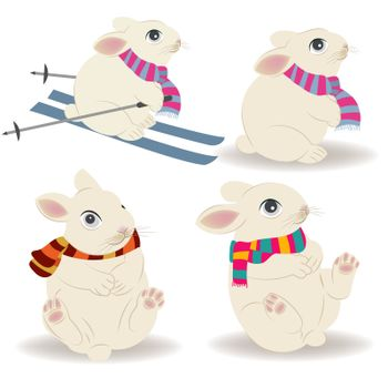 Cute Christmas bunies collection isolated on white