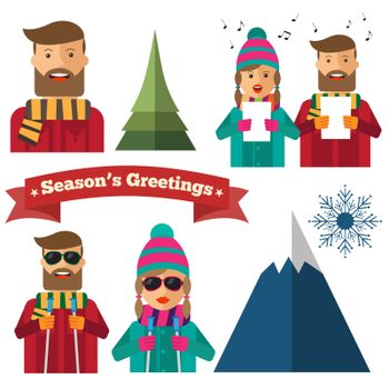 Cute Christmas items collection in hipster style. Vector
