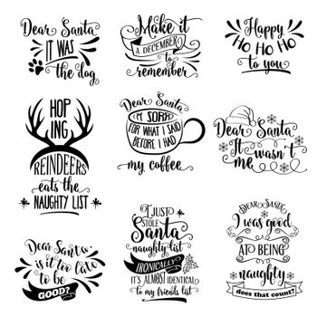 Huge Christmas quotes collection isolated on white. Vector