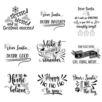 Christmas quotes collection isolated on white. Vector
