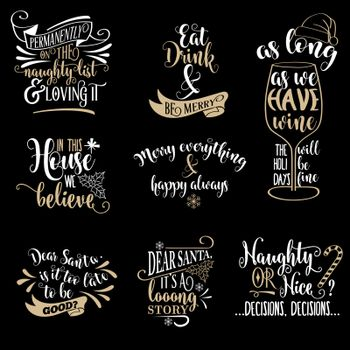 Huge  Christmas quotes collection isolated on black. Vector