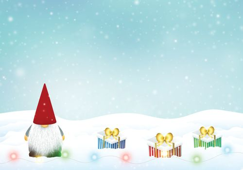 Christmas gnome with winter landscape, decoration.