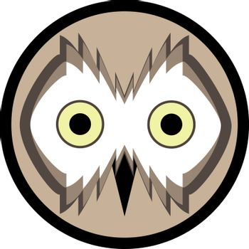 Vector icon or logo with owl face in beige shades