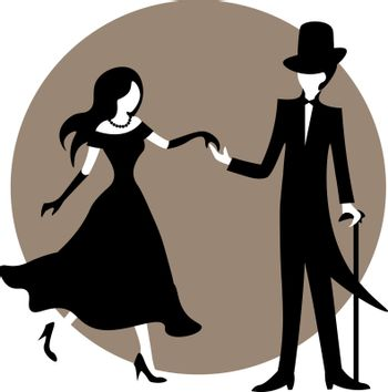Man wearing tailcoat and cylinder invite woman in long black dress to the dance