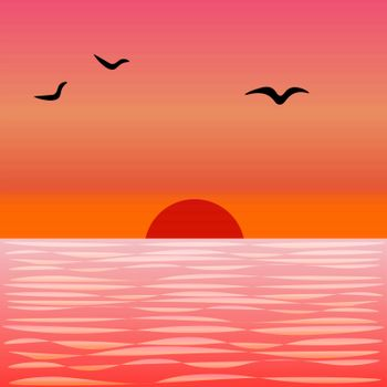 Calm sea or ocean waves, colourful sunset and flying seagulls