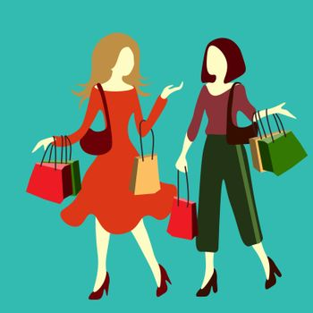 Two women walk with purchase bags and talking. Shopping, sale