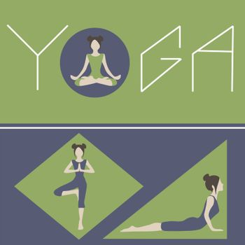 Yoga concept art. Woman doing asanas in geometric figures. Wellness and healthy lifestyle