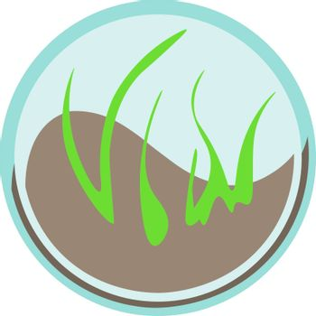 Image of grass growing from the soil in the blue circle