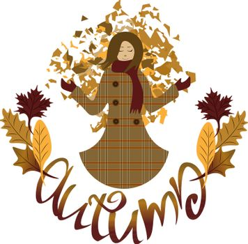 Smiling girl throwing leaves in the air. Stylized text `Autumn`