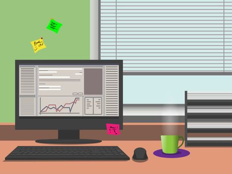 An office routine illustration: the desktop, documents, the cup of hot tea, note stickers. Business, finance or accounting.