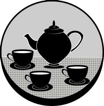 Grey circle with the black vintage teapot and three black cups of tea on the table