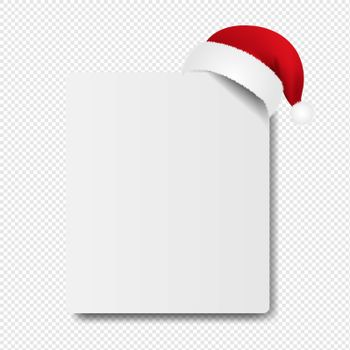 Banner With Santa Claus Cap transparent Background With Gradient Mesh, Vector Illustration
