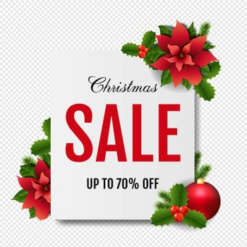 Christmas Sale Banner With Red Christmas Poinsettia White Background With Gradient Mesh, Vector Illustration