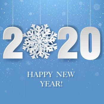Happy New Year Poster With Snow With Gradient Mesh, Vector Illustration