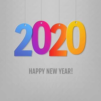 New Year Card Grey Background With Gradient Mesh, Vector Illustration