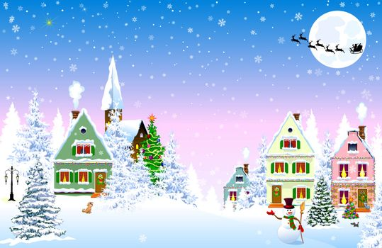Houses, village, church, forest, trees. Winter rural landscape. Christmas Eve Night. Snowflakes in the night sky. Santa on a sleigh against the background of the moon. Christmas winter night scene.