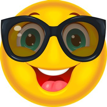 Smiling yellow smiley in black glasses on a white background.