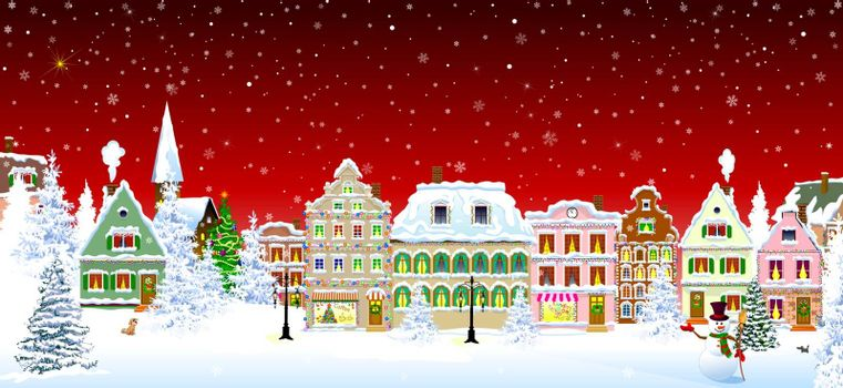 Houses, city, church, trees. Winter city landscape. Christmas Eve night. Snowflakes in the night sky. Christmas winter night scene.