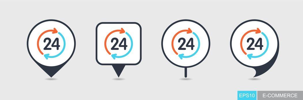 Twenty four hour pin map icon