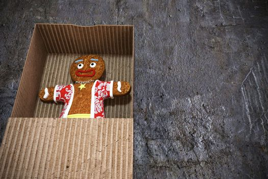 gingerbread man in a box 3d illustration
