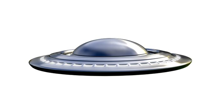 metallic space ship isolated on white background 3d illustration