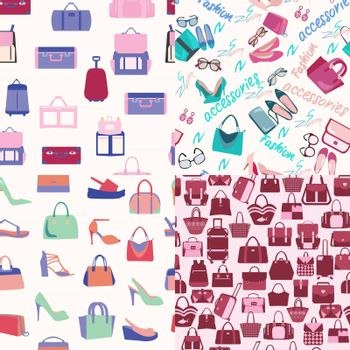 Vector hand-drawn set of Seamless background fashion bags and accessories objects. Fashion shopping background  can use for for packaging, wrapping paper, textile, card, banner.