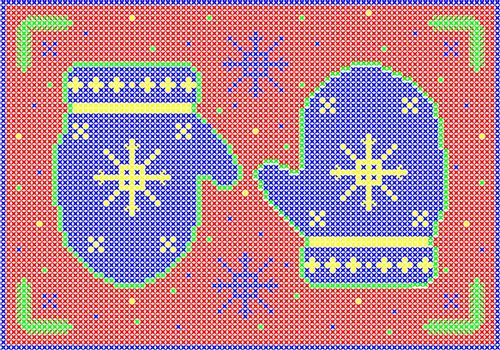 Cross stitch winter mittens with snowflakes on red background.