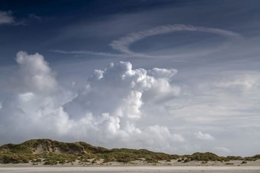 Imposing cloud formations over the dunes on the island of Terschelling